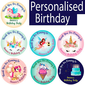 Personalised Round Stickers Labels Thank You For Coming To My Party Birthday