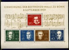 1959 Germany Composers Souvenir Sheet Sc#804 Mlh F-Vf