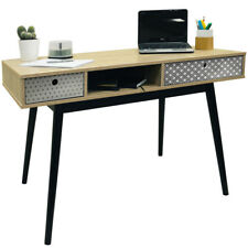 RETRO - 2 Drawer Office Computer Desk / Dressing Table - Oak / Black OF8500