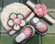 Crochet Baby girls Hats booties Set NewBorn 3 months pink Gray White shoes flowe
