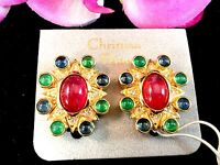 NWT COUTURE CHRISTIAN DIOR GERMANY JEWELS INDIA GRIPOIX CABOCHON CLIP EARRINGS
