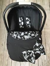 Delantal de asiento de coche de bebé Cubierta Negro Gris Vintage Floral arnés cubre Arco Nuevo
