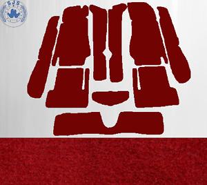 Teppichsatz Teppich für Fiat 124 Spider Baujahr 1966-1985 Velours Dunkelrot