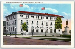 Post Office And Patrick Walsh Monument Augusta Vintage GA Postcard F7