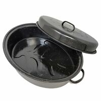 Oval Carbon Steel Turkey Roaster Pan With Domed Lid Ham Pot Roasts & Vegetables