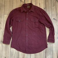 ST JOHNS BAY Burgundy CHAMOIS Cloth Flannel Shirt Men's Large