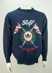 Vintage 80s Adidas Golf Knit Sweater Jumper Crewneck Trefoil Big Logo Size 40/42