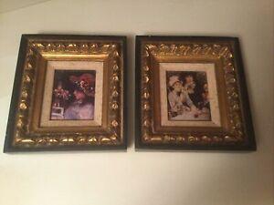 Vintage Mid Century Vanguard Studios Pair Hand Carved Framed Wall Art Ladies