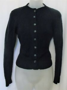 Vintage navy blue wool cardigan, hand knitted from JAEGER wool ~ UK 10