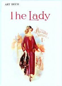 'The Lady' - Nostalgic Art Deco 1923 front cover.Greeting card.blank inside.5440