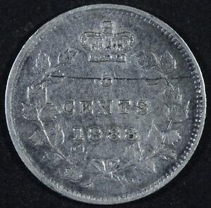 1888 Canada 5 Cents Silver Coin - Victoria