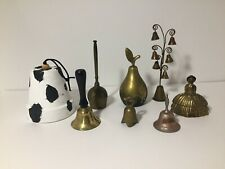 Collection of Bells Vintage Brass Lady Figure Pear Shaped & More Clay Pot Bell