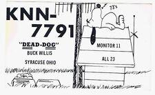 Vintage 1969 Snoopy Peanuts Comics Postcard QSL Card CB Ham Radio Syracuse Ohio