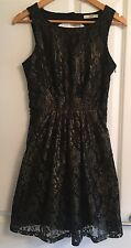 Women's Oasis Small Size 10 Black Shimmer Lace A-line Cocktail Party Dress