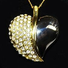 USB Stick 8 GB HEART Jewelry Necklace Pendant Rhinestone gold and silver