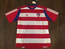 Fc Dallas Adidas Mls Striped Red White Soccer Jersey Sz Xl New With Tag Replica