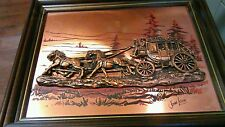 Vintage John Louw Copper Stagecoach Horses Wall Art US Mail Ready To Frame
