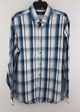 Alfani Men's Cotton Brawley Plaid Shirt Ocean Night S
