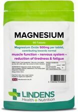 Magnesium Oxide 90 Tablets 500mg One A Day Reduces Tiredness & Fatigue Lindens