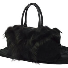 Authentic Yves Saint Laurent Easy Leopard Hand Bag Purse Black Fur NR09786