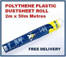 Polythene Dustsheet 2mx50m Roll, Medium Weight Polythene Roll Clear Plastic Poly
