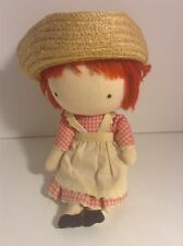 Vintage Pocket Doll Boucher Associates Straw Hat Gingham Dress Japan