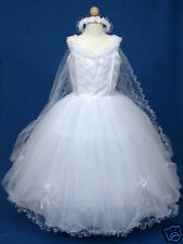 NEW GIRL Sz 14 White Communion/PAGEANT/FLOWER GIRL DRESS, Applique Front