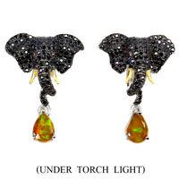 Pear Fire Opal 7x5mm Black Spinel Cz 925 Sterling Silver Elephant Earrings