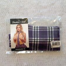 "Teachers Pet School Girl Tie Purple Tartan Plaid 56"" Mens Wear Lingerie Costume"