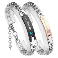 I am Hers He is Mine Stainless Steel His and Hers Couple Curb Chain Bracelet Set