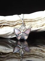 """Sterling Silver 925 Butterfly Pendant Mother of Pearl Pink 16/18/20"""" Necklace"""