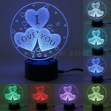 I LOVE YOU 3D Night Light 7 Color Change USB Touch Switch Table Desk Lamp Gift