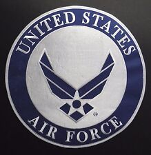 USAF AIR FORCE WINGS LARGE ROUND EMBROIDERED JACKET PATCH 12 INCHES