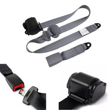 UNIVERSAL 3 POINT RETRACTABLE AUTO CAR SEAT BELT LAP SHOULDER ADJUSTABLE Gray