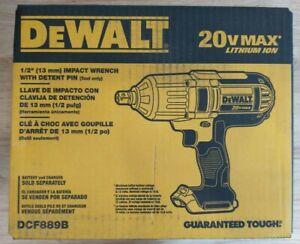 "DEWALT DCF889B 20V MAX High Torque Li-Ion 1/2"" Impact Wrench w/ Detent Pin New"