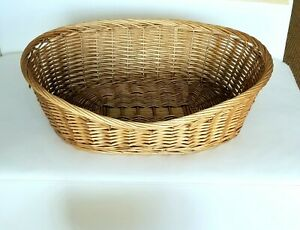 Oval Honey Natural Wicker Dog Puppy Cat Pet Bed Basket with Waterproof Pillow