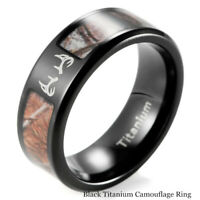 Men's Black Titanium Antler Ring  Wild Tree Camo Outdoor Hunting Wedding Bands