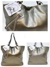 ED HARDY BRONZE LADIES BAG / TOTE BAG WITH SKULL CHARM ZIPPER *NEW*