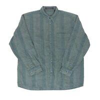 """Jhane Barnes Men XL 52"""" Long Sleeve Button Shirt Cotton Blue Subtle Stripe"""