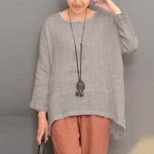 Zanzea Women Long Sleeve Oversize Vintage Casual Blouse Tops Asymmetrical Shirt Grey 4xl