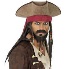 Adults Deluxe Pirate Hat With Braids Beads Dreadlocks Fancy Dress Jack Sparrow
