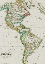Echte alte Landkarte Nord-und Süd- AMERIKA North America and South America 1875
