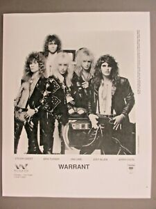 Warrant black & white 8 X 10 glossy promo photo 1989 !