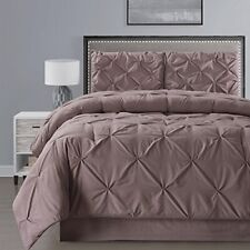 Double-Needle Stitch Goose Down Alt Pinch Pleat Full Comforter Set TAUPE BROWN