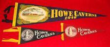 4 Vintage Cave Howe Caverns Souvenir Felt Banners - 1940 / 1951 & 2 Small