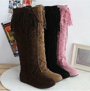 Womens Tassel Moccasin Knee High Boots Pull On Flat Heel Roman Faux Suede New