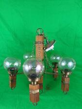 JDL 4x5 5-Light Oak and Antique Brass Chandelier
