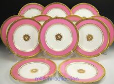 BEAUTIFUL SET OF 12 MINTON G7215 DAVIS COLLAMORE RAISED GOLD PINK DINNER PLATES