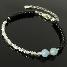 Bright Black Onyx Bracelet Aquamarine Crystal Sterling Silver Nuggets Chain 1662