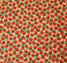"23"" Strawberry Calico Schwartz Liebman Cranston Floral Flowers Red on Tan"